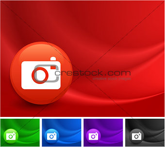Camera Icon on Multi Colored Abstract Wave Background