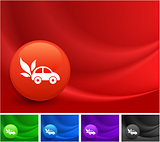 Car Icon on Multi Colored Abstract Wave Background