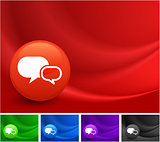 Chat Icon on Multi Colored Abstract Wave Background