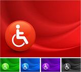 Disabledd Icon on Multi Colored Abstract Wave Background