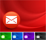 Mail Icon on Multi Colored Abstract Wave Background