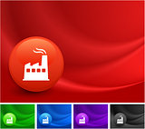 Factory Icon on Multi Colored Abstract Wave Background