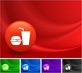 Fast Food Icon on Multi Colored Abstract Wave Background