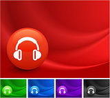 Headphones Icon on Multi Colored Abstract Wave Background
