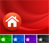 House Icon on Multi Colored Abstract Wave Background