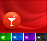 Martini Icon on Multi Colored Abstract Wave Background