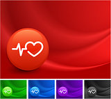 Pulse Heart Rate Icon on Multi Colored Abstract Wave Background
