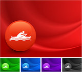 Rowing Icon on Multi Colored Abstract Wave Background