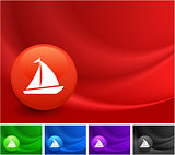 Sailboat Icon on Multi Colored Abstract Wave Background