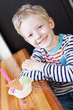 kid at cafe