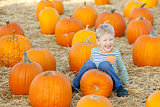 kid at pumpkin patch
