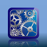 Button blue with gears