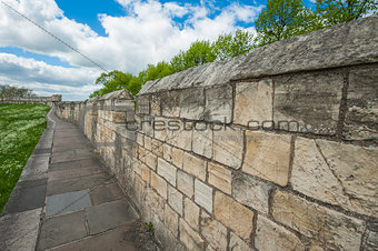 Old city walls in famous English town