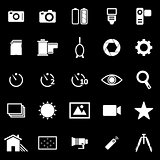Camera icons on black background
