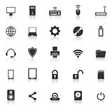 Computer icons with reflect on white background