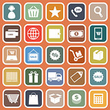 E-commerce flat icons on orange background