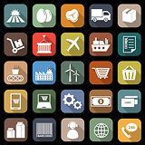 Supply chain flat icons with long shadow
