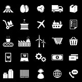 Supply chain icons on black background