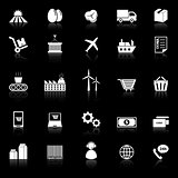 Supply chain icons with reflect on black background