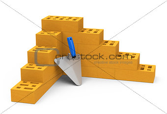 bricks and brick trowel