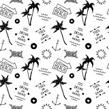 Summer beach pattern in old school tattoo style, vector