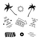 Summer beach set in old school tattoo style, vector