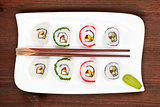 Maki sushi on white plate with chopsticks.