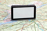 gps navigation on green map.