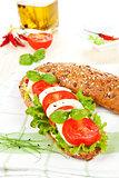 Mozzarella tomato baguette.