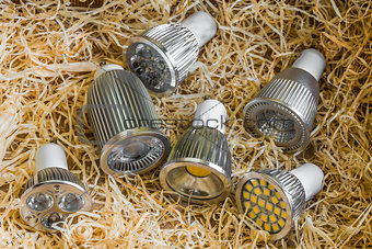 GU10 LED bulbs with different cooling on straw