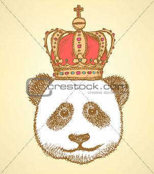 Sketch panda in crown, vintage background