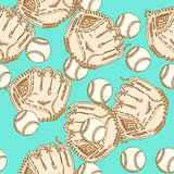Sketch baseball bal ang glove,  seamless pattern