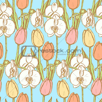 Sketch tulip and orchid, vintage seamless pattern