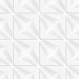 White diagonal onion shapes on squares seamless pattern