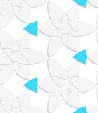 White floristic swirl with blue pattern seamless pattern