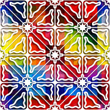 White triangle ornament on rainbow seamless pattern