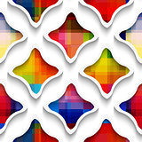 White wavy rectangles with rainbow on white seamless pattern