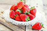 plate with fresh strawberries