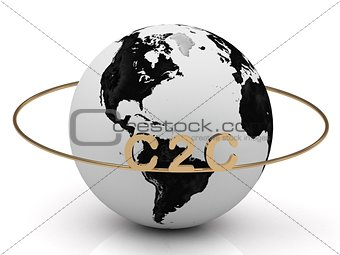 C2C golden letters on a gold ring around the earth
