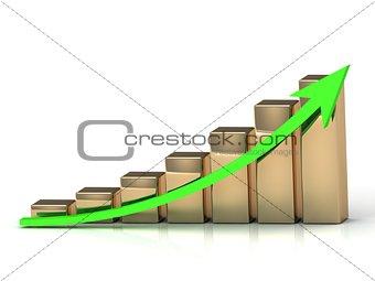 Business graph from golden columns