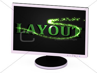 LAYOUT- 3d inscription with luminous line with spark