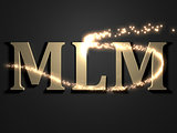 MLM- 3d inscription with luminous line with spark