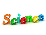 science 3d inscription bright volume letter