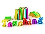 teaching 3d inscription bright volume letter and textbooks