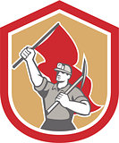 Coal Miner Hardhat Pick Axe Flag Shield