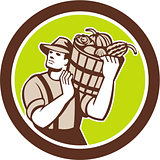 Organic Farmer Carrying Harvest Bucket Retro