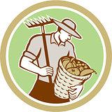 Organic Farmer Holding Rake Harvest Basket Retro