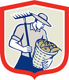 Organic Farmer Rake Harvest Basket Retro