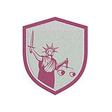 Metallic Statue of Liberty Holding Sword Scales Justice Shield