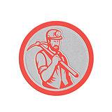 Metallic Coal Miner Hardhat Holding Pick Axe Circle Woodcut